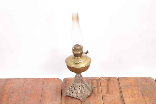 Brass & cast iron oil lamp