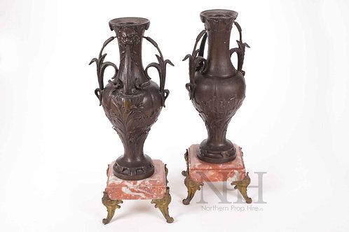 Bronze palm leaf urns