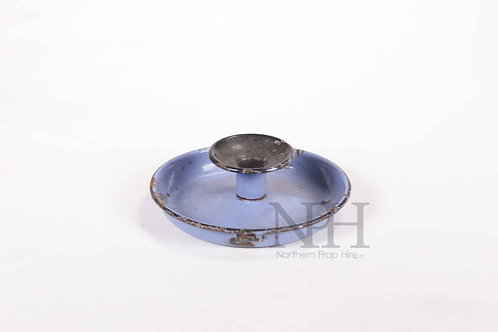 Blue enamel candle holder