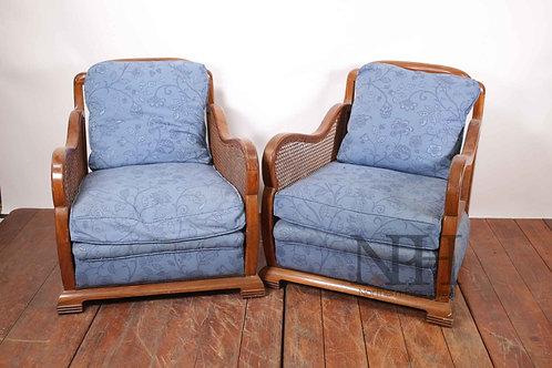 Blue wicker Armchairs
