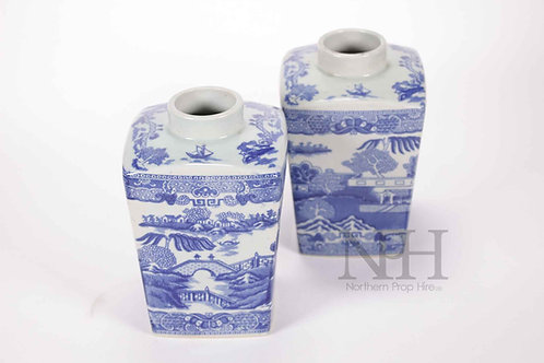 Blue and white urns