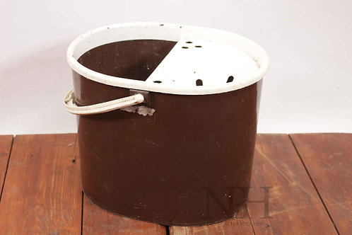 Brown plastic mop bucket