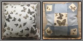 Butterfly Flutterby Denim Pillow
