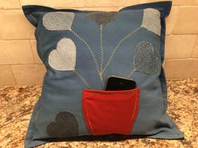 Flower Pot Phone Holder Denim Pillow