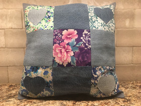 Hearts and Flowers Denim Pillow
