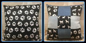 Pups and Paws Denim Pillow