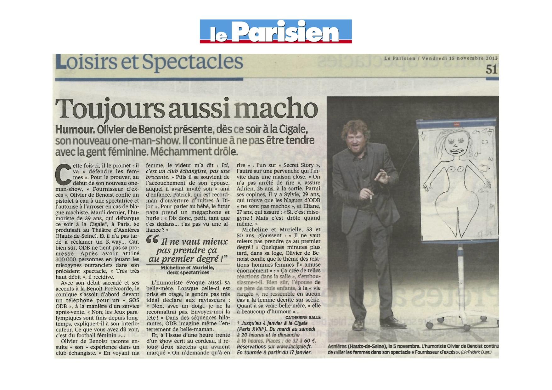Le Parisien 15 Novembre 2013