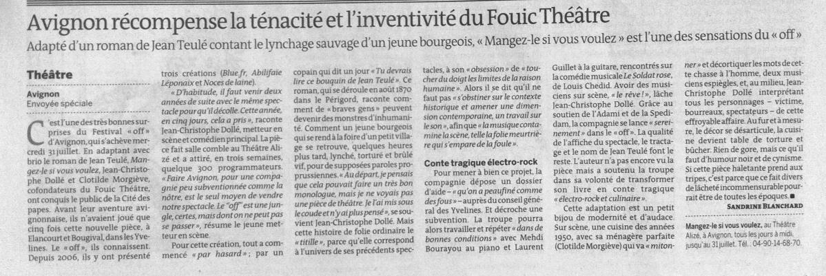 Le Monde 29 juillet 2013