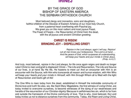 Archpastoral Paschal Greeting Message from His Grace, Bishop of Eastern-America IRINEJ