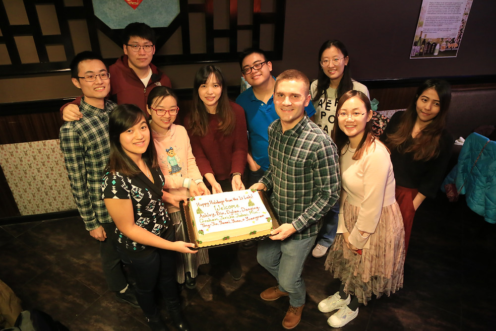 Pictured (left to right): Yuan Liu, Ashley Phetsanthad, Bin Wang, Yuanyuan Lin, Danqing Wang, Dylan Tabang, Graham Delafield, Jiabao Guo, Min Ma, and Ting-Jia Gu