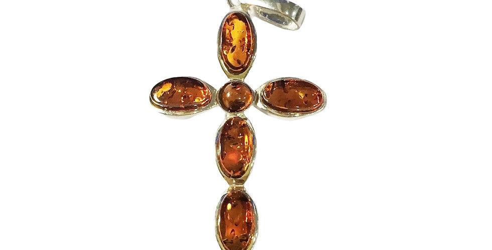 波羅的海琥珀925純銀吊墜 (十字架,干邑色)