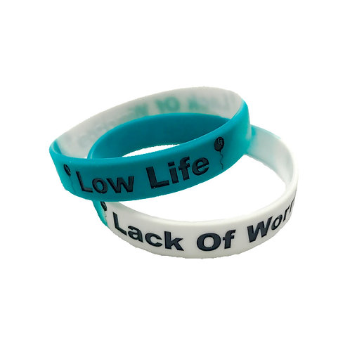 1 Teal/Black/White Low Life Lack Of Worries Band