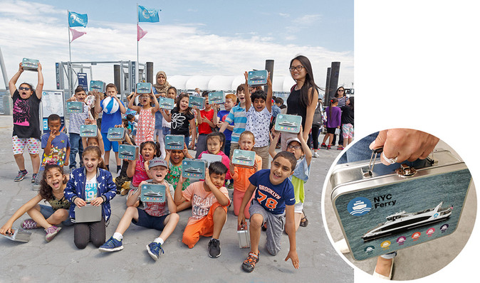 """The NYC Ferry service connects the New York boroughs of Manhattan, Brooklyn, Queens, and the Bronx to provide critical transportation links for areas currently underserved by transit and connect them to job centers, tech hubs and schools in and around New York City.  These kids named the ferry, """"Lunchbox"""" so we created lunchboxes of the boat for them!  Art direction and design."""