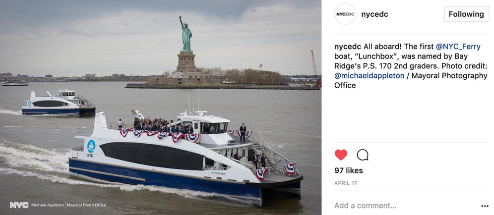 """The NYC Ferry service connects the New York boroughs of Manhattan, Brooklyn, Queens, and the Bronx to provide critical transportation links for areas currently underserved by transit and connect them to job centers, tech hubs and schools in and around New York City.  Example showcasing """"Lunchbox"""", the ferry named by children throughout NYC."""