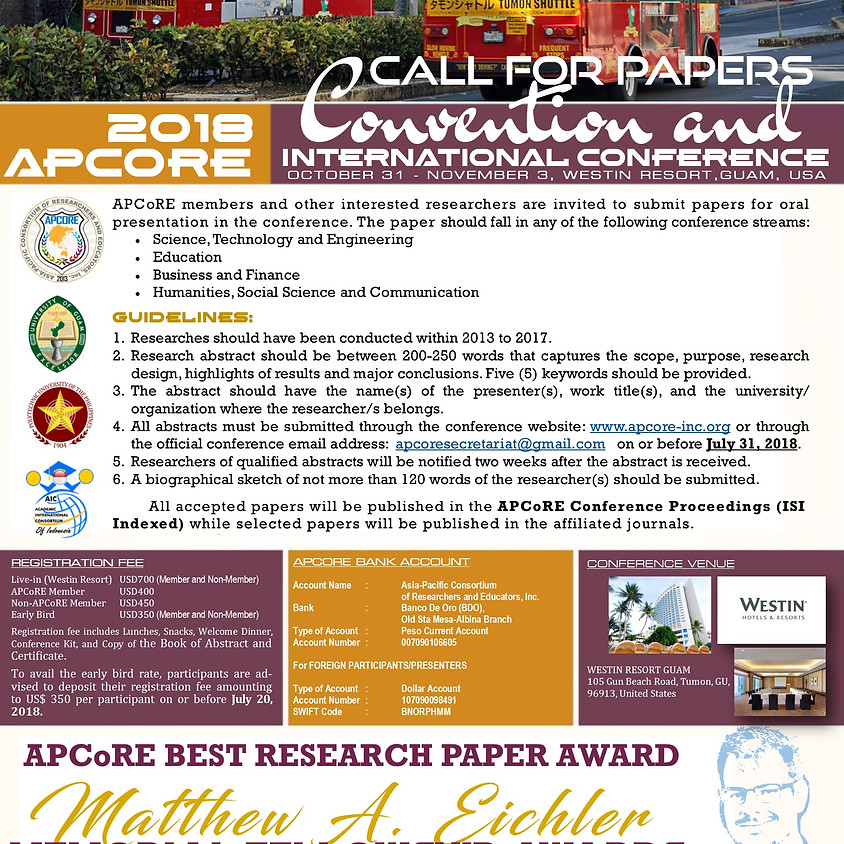 2018 APCoRE Convention and International Conference