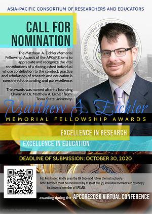 Call for Nomination Matthew A. Eichler Memorial Fellowship Award
