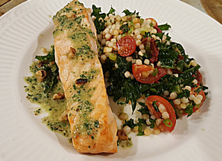 Salmon w/ Kale & Toasted Walnut Pesto