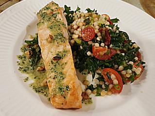 Salmon w/ Kale & Toasted Walnut Pesto