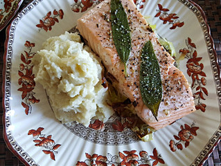 Salmon on a bed of Leeks with Parsnip Cauliflower Puree