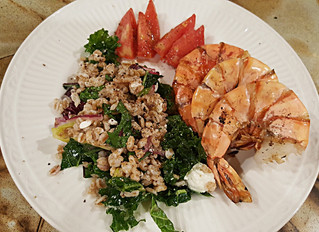 Grilled Shrimp over Kale Salad w/ Date Lime Vinaigrette