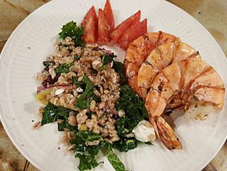 Grilled Shrimp over Kale Salad w/ Date Lime Vinaigrette