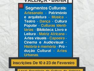 Inscrições abertas até 23/02 para eleição do Conselho de Cultura de Valença