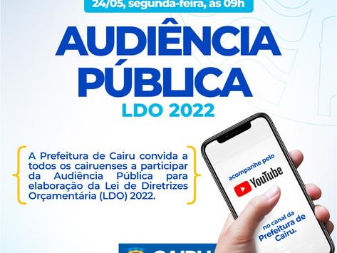 Prefeitura de Cairu promove nesta segunda (24/05) Audiência Pública para elaboração da LDO