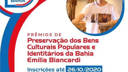 Abertas inscrições-Prêmios de Preservação dos Bens Culturais Populares e Identitários