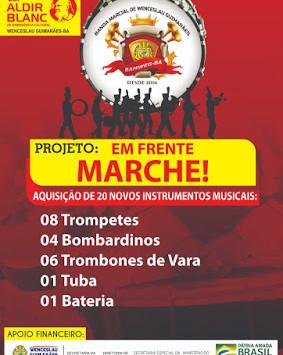 Banda marcial de Wenceslau Guimarães ganha novos instrumentos