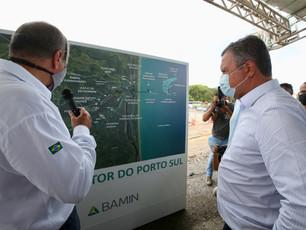 Visita do governador Rui Costa ao canteiro de obras do Porto Sul, em Ilhéus