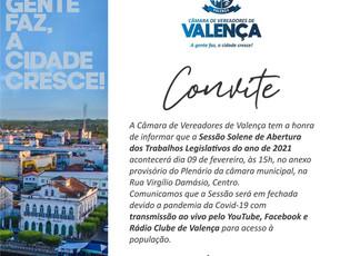 Legislativo Valenciano realizará Sessão Solene de abertura dos trabalhos no dia 09 de fevereiro