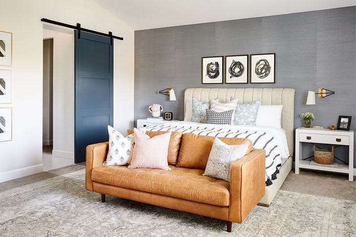 Gorgeous master bedroom with unexpected + totally cool elements