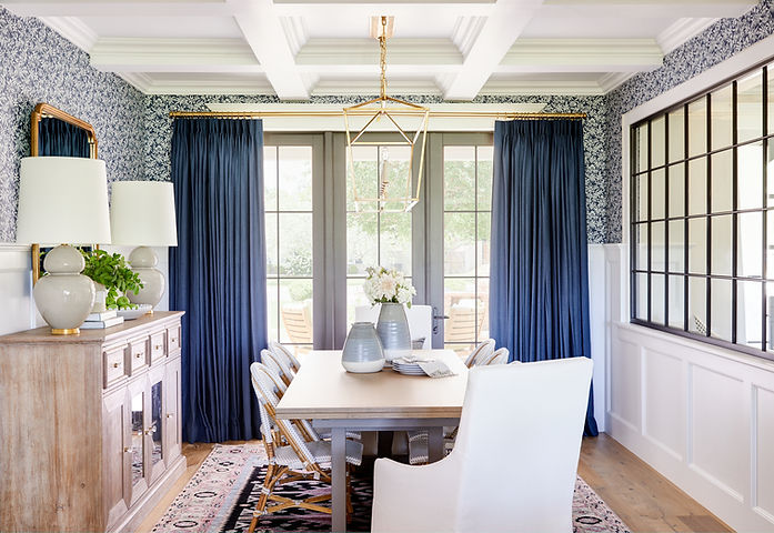 A traditional dining room with lots of architectural details
