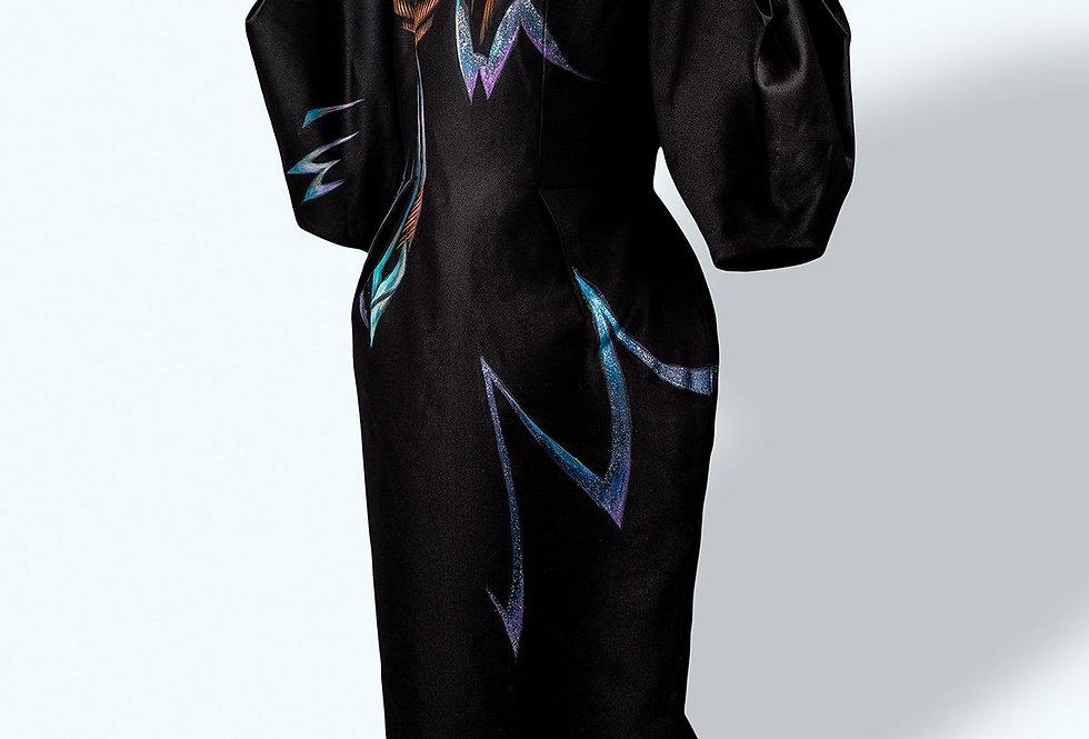 AMARYLLIS FLOWERSPAINTED VOLUMINOUS SLEEVE BLACK DRESS