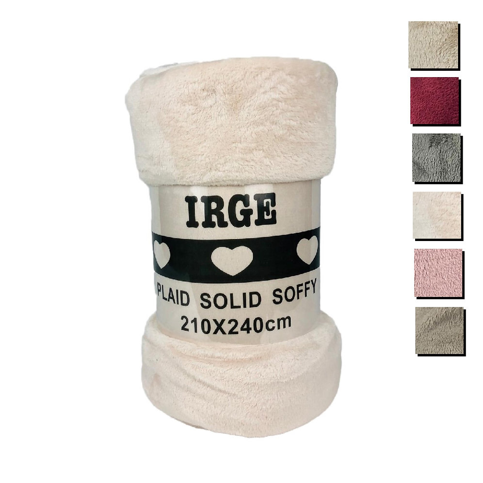 Plaid pile morbida coperta IRGE matrimoniale 210x240 cm soffice Soffy 0676