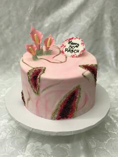 Pink Marble Geode Cake