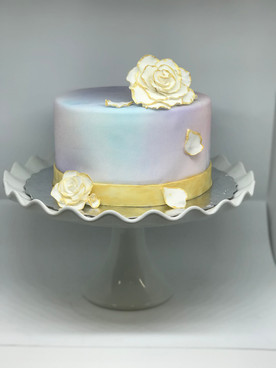 Cascading Petal Gold Flower Cake