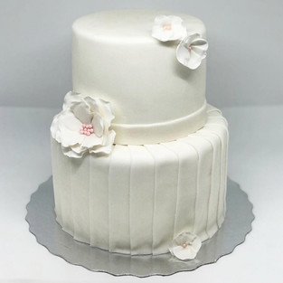 White and Pink Flower Dress Cake