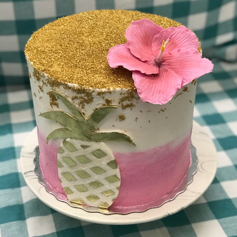 Tropical Pink and Gold Cake
