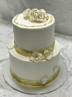Gold Flower Wedding Cake