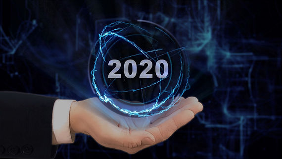 Painted hand shows concept hologram 2020