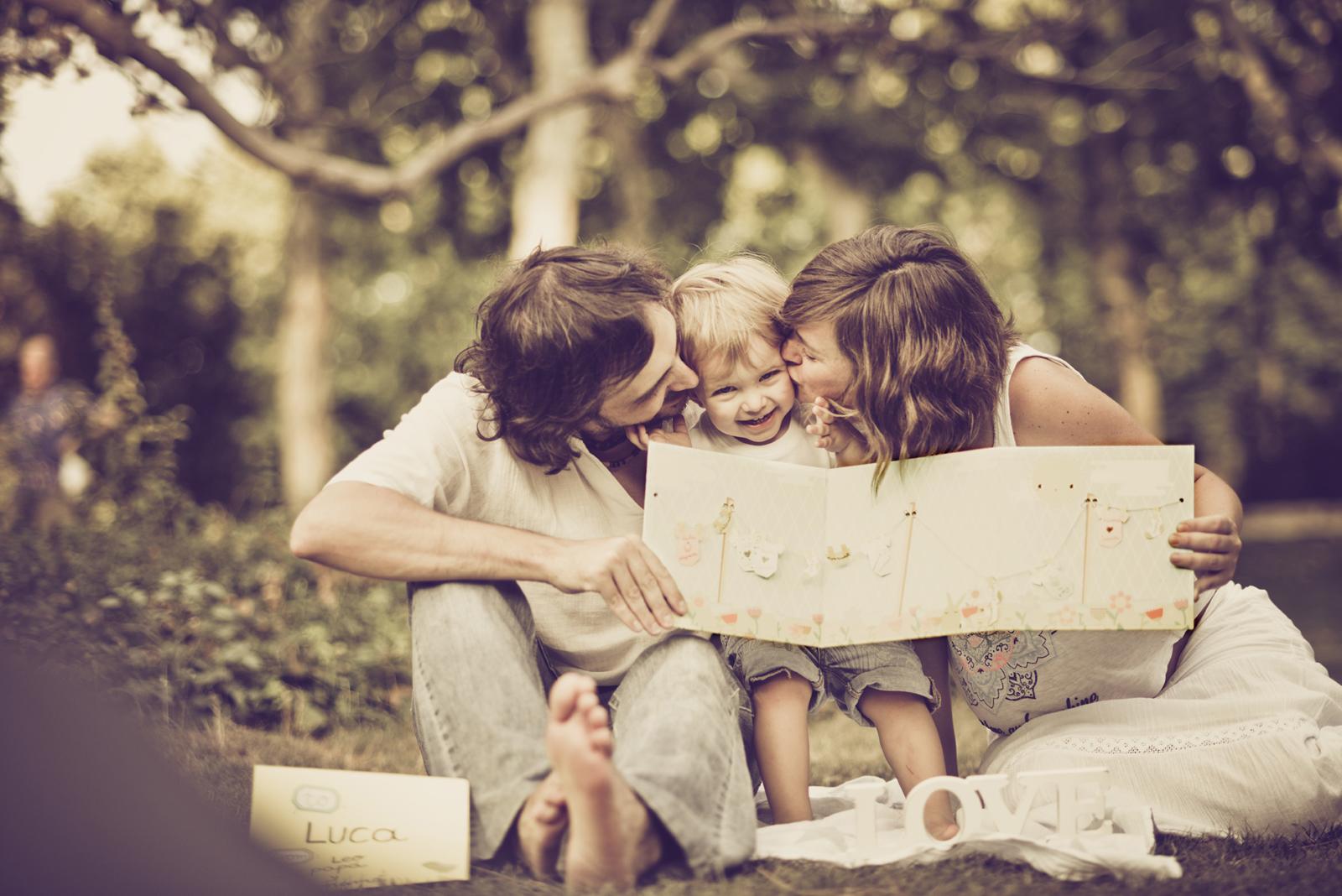familia en el Retiro, Madrid