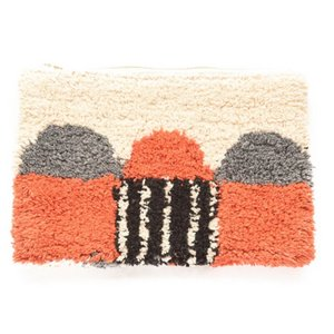 Orange & Grey Shaggy Clutch