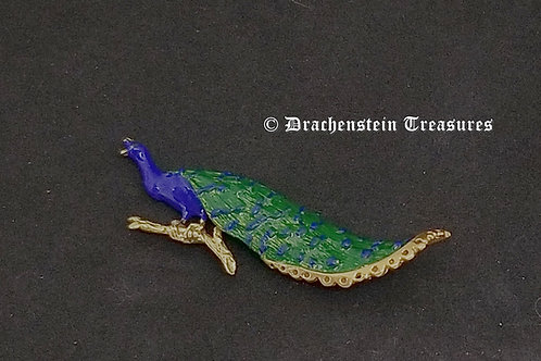 Perched Peacock Brooch