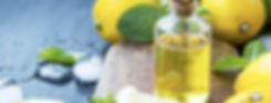 Fresh citrus essential oil.Lemon oil bot