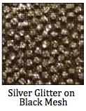 Silver Glitter on Black Mesh