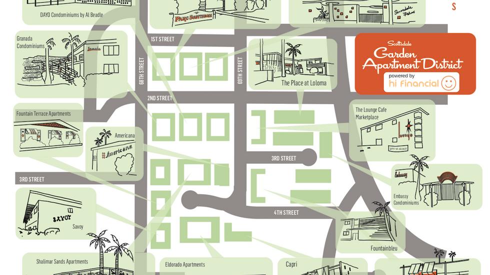 Scottsdale Garden Apartment District Walking Tour Map