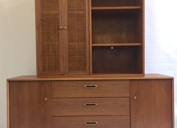 BP John Mid Century Walnut and Rattan Credenza with Hutch 1962