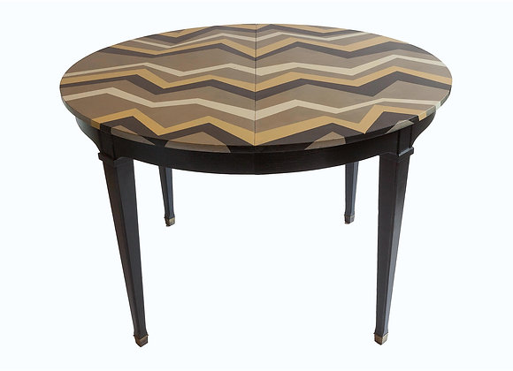 Hand-Painted Vintage Chevron Table