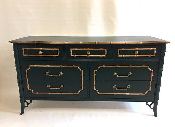 Vintage Faux Bamboo Dresser w/Mirror